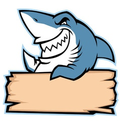 shark hold wood sign vector image vector image