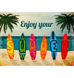 Summer vacation surfboard poster vector image vector image