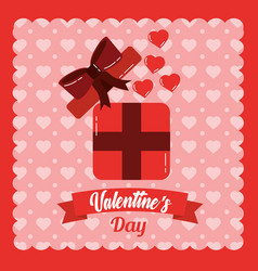 valentines day card open gift box surprise hearts vector image