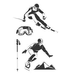 elements for vintage ski and snowboard vector image