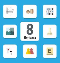 Flat icon entertainment set of ace xo jigsaw vector