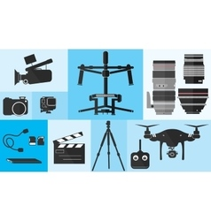 Footage Photography Equipment Shoot Set Pro Camera vector image vector image