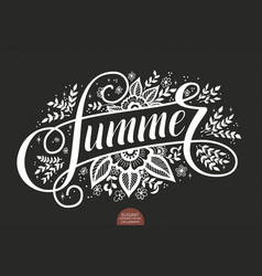 hand drawn lettering - summer decorated with vector image