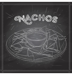 Nachos scetch on a black board vector