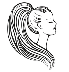 Silhouette of a beautiful young woman vector image vector image