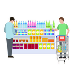 supermarket shopping people vector image