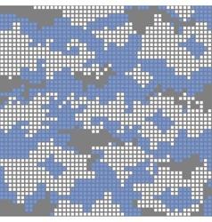 Urban camo pattern - blue pixels vector image