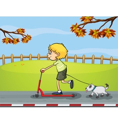 A boy riding with his scooter followed by his pet vector image vector image