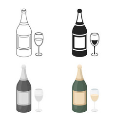 Champagne icon in cartoon style isolated on white vector