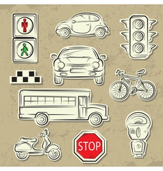 city traffic icons vector image