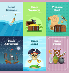 different invitation cards of pirate theme vector image vector image