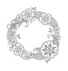 Floral hand drawn round frame in zentangle style vector image vector image