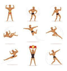 Freestyle wrestling fighter in black underwear vector