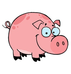 happy smiling pink pig with spots vector image vector image