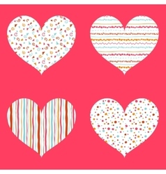 Hearts seamless pattern bright collection vector image