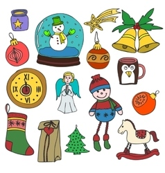 New Year and Merry Christmas outline icons set vector image