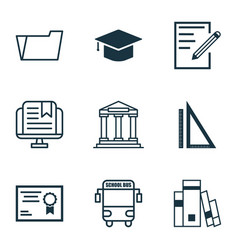 set of 9 education icons includes college vector image vector image