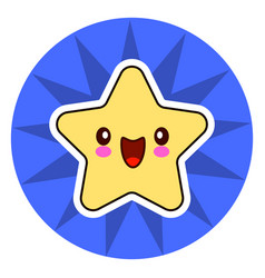 star face emoticon cute kawaii character on blue vector image vector image