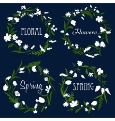 Wreaths with white flowers and herbs vector image vector image