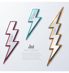 lightning bolt banners set 3 variants vector image