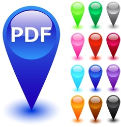 PDF button vector image vector image