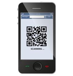 Qr code on smart phone vector image vector image