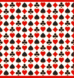 seamless pattern with playing card suits vector image vector image