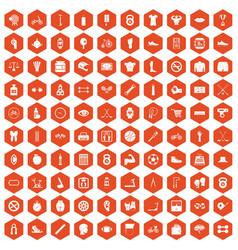 100 kettlebell icons hexagon orange vector image vector image