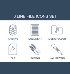 6 file icons vector