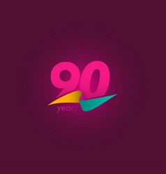 90 years anniversary celebration purple ribbon vector