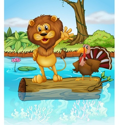 A lion and a turkey above a floating wood vector