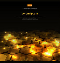 Abstract golden shine hexagon geometric ground vector