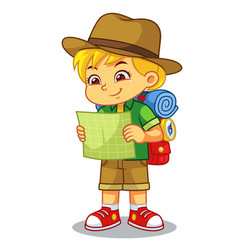 Adventure girl looking on her guide map vector
