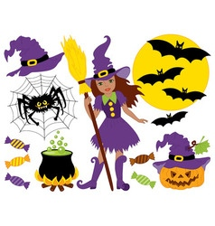 African American Witch - Halloween Set vector