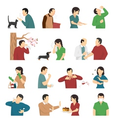 Allergy Symptoms Causes Flat Icons Set vector
