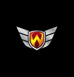 Auto guard letter w icon logo design concept vector