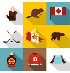 canada travel icon set flat style vector image
