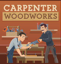 carpenter and joiner workers characters vector image