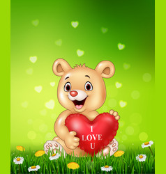 cartoon bear holding red heart balloons on green g vector image