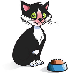cartoon cat with food bowl vector image