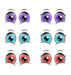 cartoon eyes expression silhouette symbol icon vector image