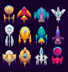 cartoon galaxy space starships game asset set vector image