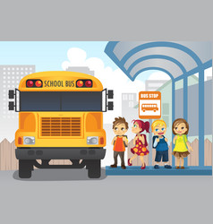 Children at bus stop vector