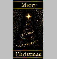 christmas tree card text black background gold vector image