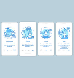Cleaning agency staff onboarding mobile app page vector