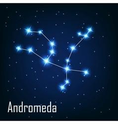Constellation andromeda star in the night sky vector