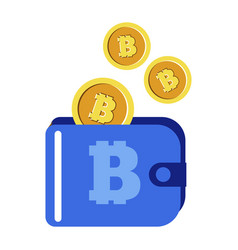 cryptocurrency bitcoins in wallet digital money vector image