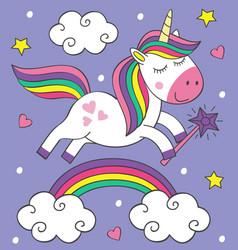 cute little unicorn flies over the rainbow vector image