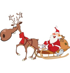 Cute Santa Claus and Reindeer vector