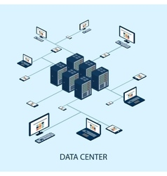 Data isometric set with data center and network vector image